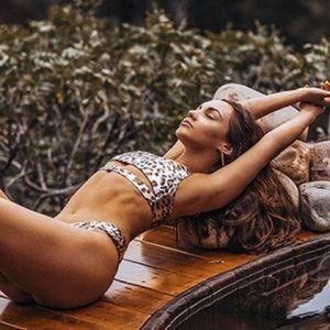 Other - Wild Intentions Metallic Leopard Print Bikini Top